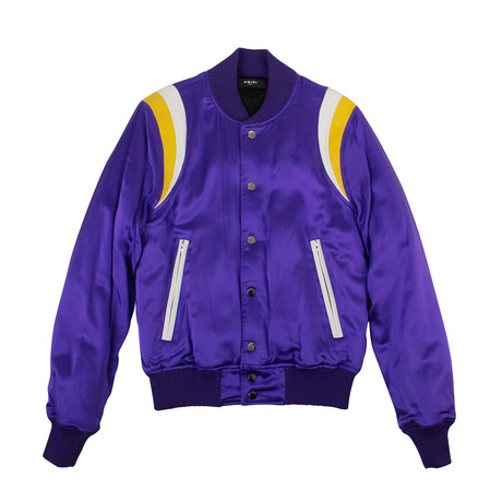 Men's Varsity Baseball Bomber Jacket // Purple (XS)