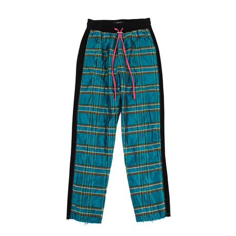 Men's Plaid Straight Leg Track Pants // Blue (XS)