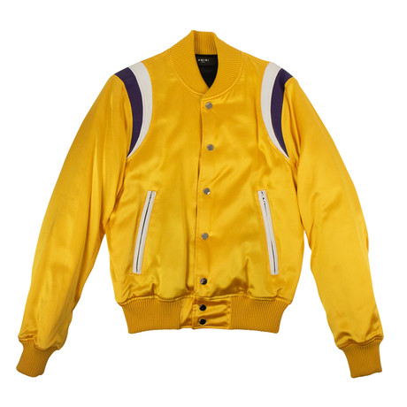 Men's Varsity Baseball Bomber Jacket // Yellow (XS)