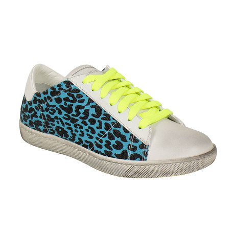 Women's 'Viper' Neon Leopard Low Sneakers // Blue (US: 6)