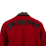 Men's 'Forever' Stitched Bomber Jacket // Red (XS)