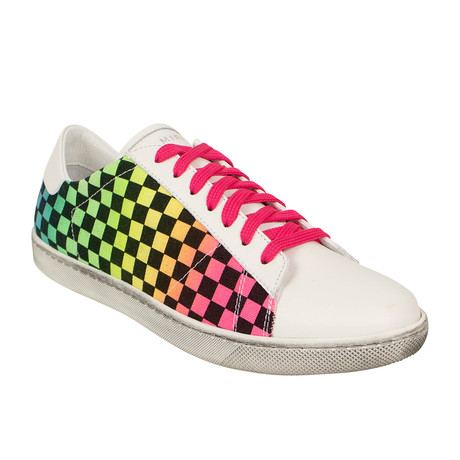 Men's 'Viper' Rainbow Check Low-Top Sneakers // Multicolor (US: 6)