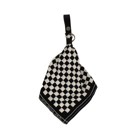 Unisex Checkerboard Bandana Key Chain // Black + White