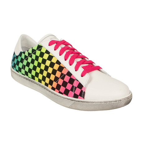 Women's 'Viper' Rainbow Check Low-Top Sneakers // Multicolor (US: 6)