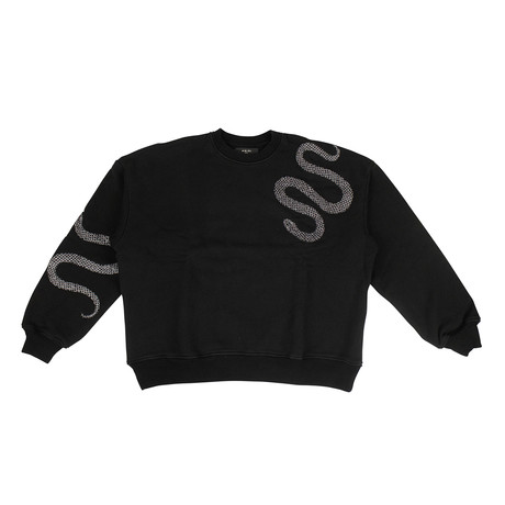 Men's 'Glitter Snake' Loose Fit Sweatshirt // Black (XS)