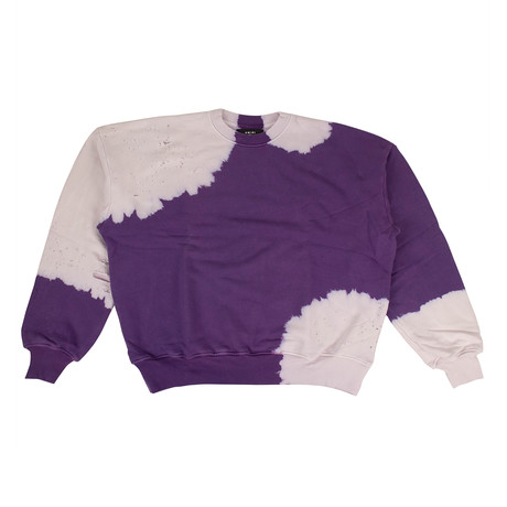 Men's Bleached Oversized Crew-Neck Sweatshirt // Purple (XS)