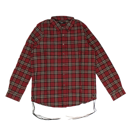 Men's Laced Plaid Button Down Shirt // Red (XS)