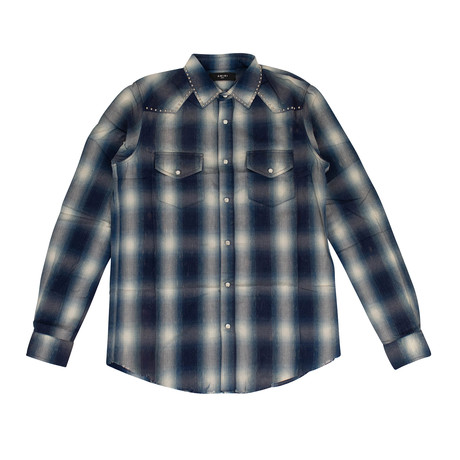 Men's Western Plaid Button Down Shirt // Blue (XS)
