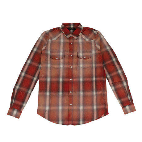 Men's Western Plaid Button Down Shirt // Orange (XS)