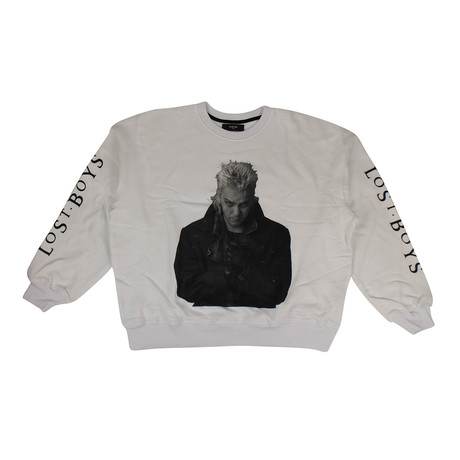 Men's 'Lost Boys' Loose Fit Sweatshirt // White (XS)