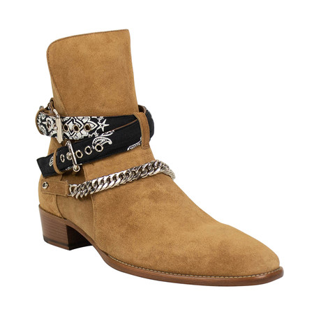 Men's Bandana Strap Buckle Ankle Boots // Tan (US: 6)
