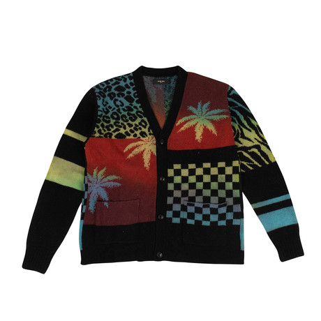 Men's Knit Patchwork Cardigan Sweater // Multicolor (XS)
