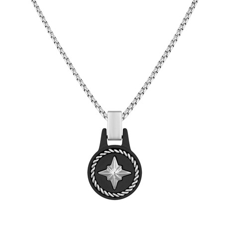 Compass Tag Necklace // Black