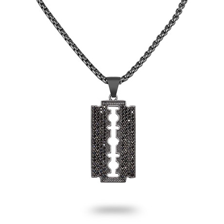 Center Cutout Tag Necklace // Black