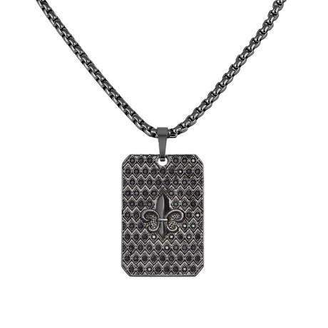 Fleur De Lis Tag Necklace // Black