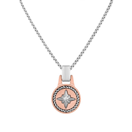 Compass Tag Necklace // Rose