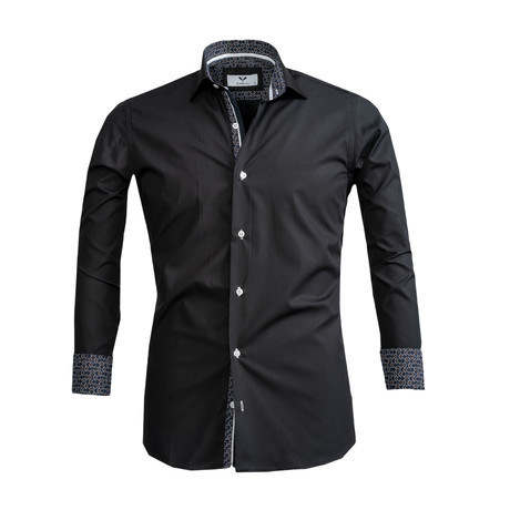 Reversible Cuff Button Down Shirt // Black (S)