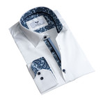 Reversible Cuff Button Down Shirt // White Paisley (S)