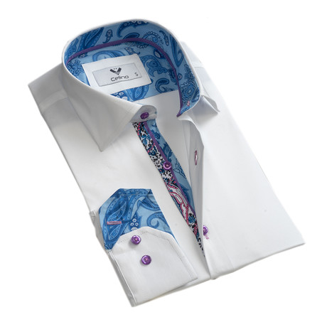 Paisley Reversible Cuff Button Down Shirt // White + Blue (S)