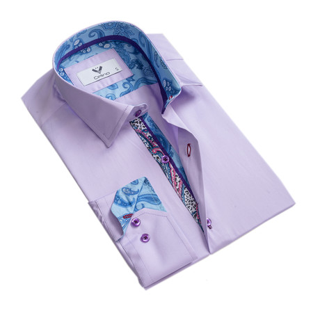 Paisley Reversible Cuff Button Down Shirt // Purple (S)