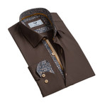 Reversible Cuff Button Down Shirt // Chocolate Brown (2XL)