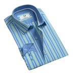 Reversible Cuff Button Down Shirt // Blue + Green (M)
