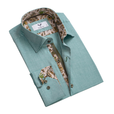 Floral Reversible Cuff Button Down Shirt // Green (S)