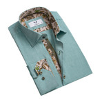 Floral Reversible Cuff Button Down Shirt // Green (M)