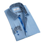 Paisley Reversible Cuff Button Down Shirt // Sky Blue (S)