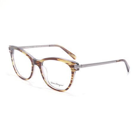 Women's SF2763 Optical Frames // Striped Gray + Brown + Green
