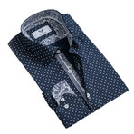 Paisley Reversible Cuff Button Down Shirt // Navy Blue (M)