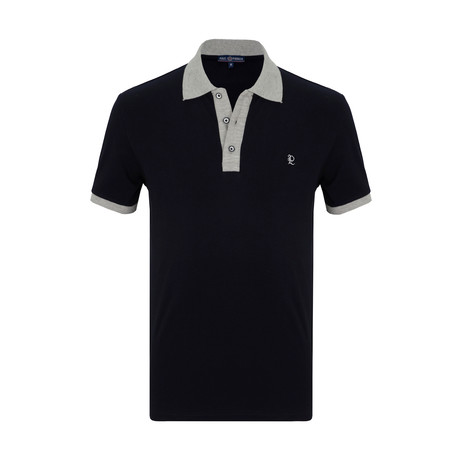 Victor Short Sleeve Polo Shirt // Navy + Gray (S)