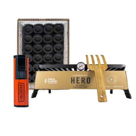 HERO Portable Grill + Butane Lighter + Charcoal Pods