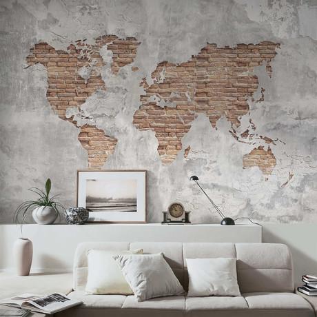Shabby Concrete Brick Worldmap