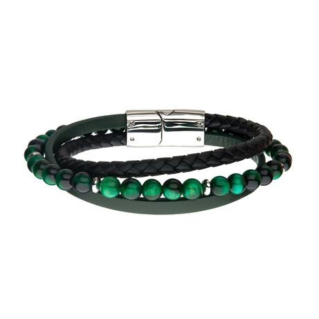 Tiger Eye Beads + Braided Leather Layered Bracelet (Brown)