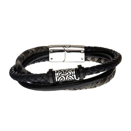 Antiqued Finish Drum Beads + Leather Layered Bracelet // Black