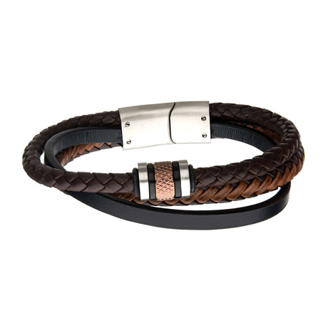 Beads + Braided Leather Layered Bracelet // Black + Brown