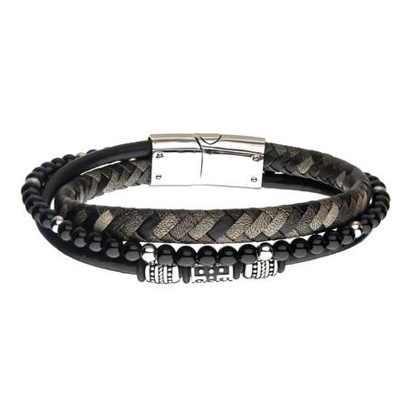 Steel + Onyx Beads + Braided Leather Layered Bracelet // Black