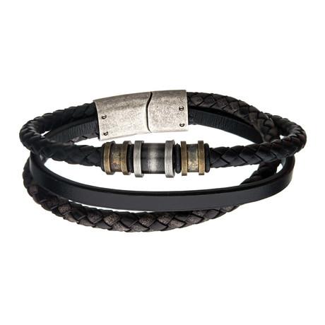 Antiqued Finish  Beads + Leather Layered Bracelet // Black