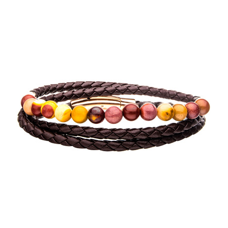 Double Wrap Leather + Mookaite Beads Bracelet // Brown