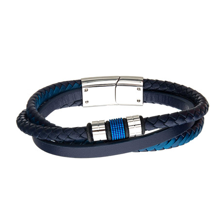 Stainless Steel Plated Beads + Leather Layered Bracelet // Blue