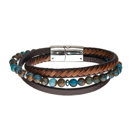 Chrysocolla Beads + Leather Layered Bracelet // Brown