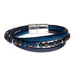 Beads + Leather Layered Bracelet // Blue