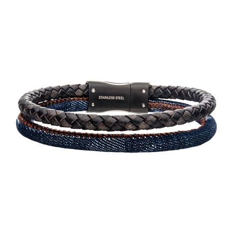 Double Strand Antiqued Leather + Denim Bracelet // Blue + Brown