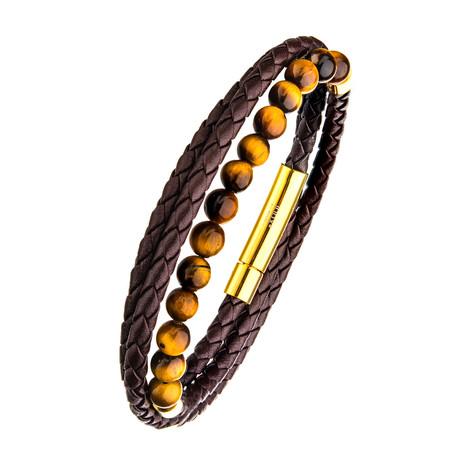 Double Wrap Leather + Tiger Eye Beads Bracelet // Brown