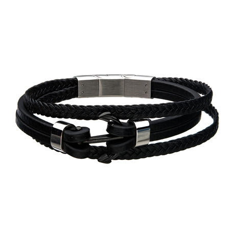Leather + Steel Stoppers Bracelet // Black