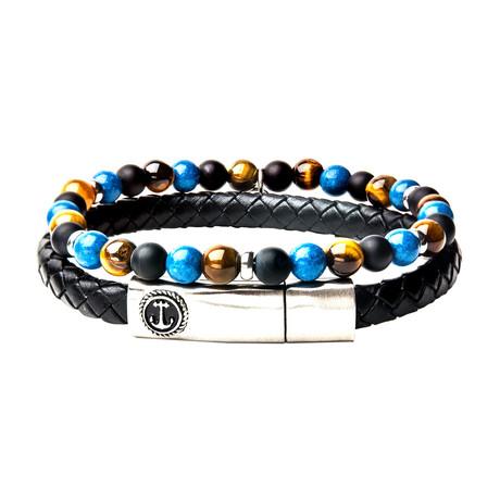 Leather + Tiger Eye Stackable Bracelet Set (Blue + Yellow)