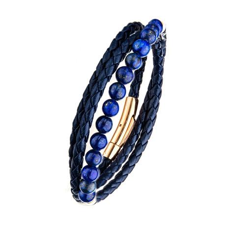 Double Wrap Leather + Lapis Beads Bracelet // Blue