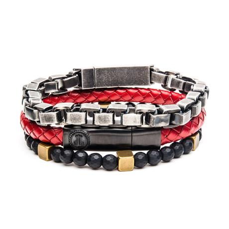 Gunmetal + Hematite + Leather Stackable Bracelet Set // Red + Black + Steel