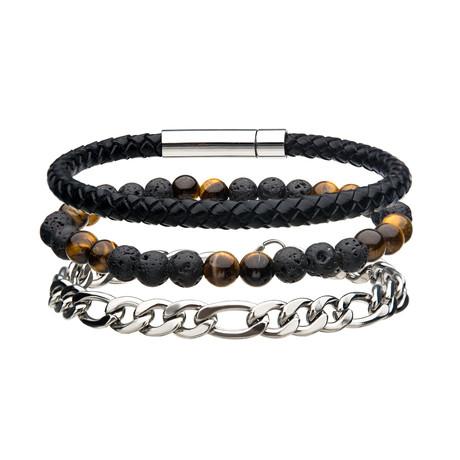Leather + Bead + Chain Bracelet Set (Black + Brown + Silver)